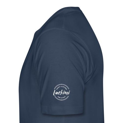 Luckimi logo white small circle on sleeve or back - Men's Premium T-Shirt
