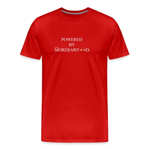 POWERED BY MORERAWFOOD WEISSER TEXT - Männer Premium T-Shirt
