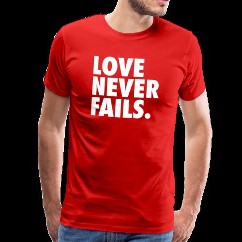LOVE NEVER FAILS - Premium T-skjorte for menn
