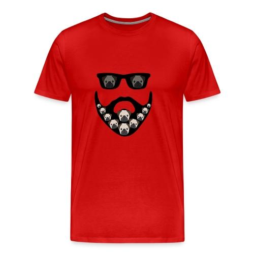 Funny Pug Dog Beard Decoration Design - Men's Premium T-Shirt