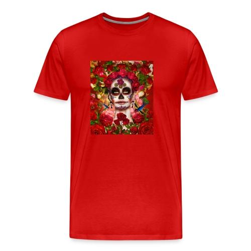 La-Catrina mit Rosen und Vögeln - Männer Premium T-Shirt
