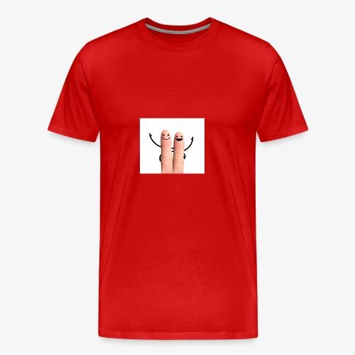 27876444 Happy fingers hug on white background Sto - Men's Premium T-Shirt