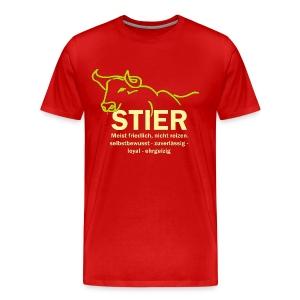 Stier Strich Gruen Text Gelb - Männer Premium T-Shirt