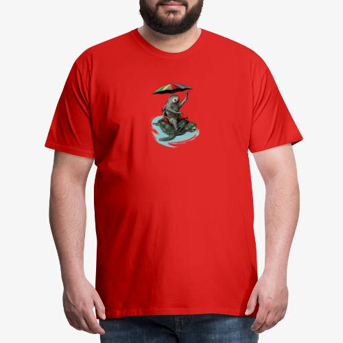 Two toed Sloth riding a turtle - Men's Premium T-Shirt