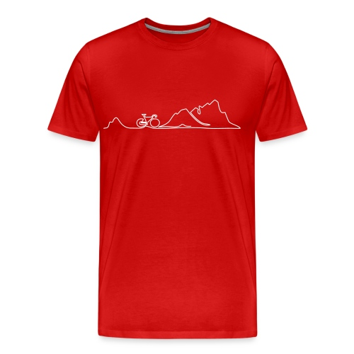 one line biking in the mountains - Männer Premium T-Shirt