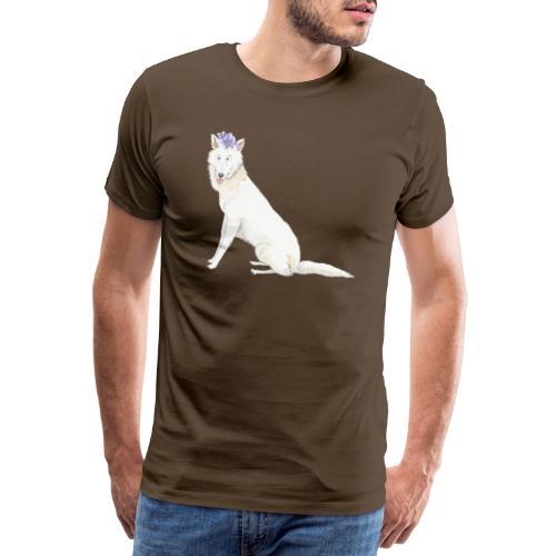 White Schwiss shehperd with flower - Herre premium T-shirt