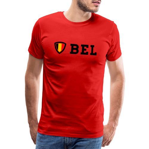 BEL Belgium Blason tricolore Football - T-shirt Premium Homme
