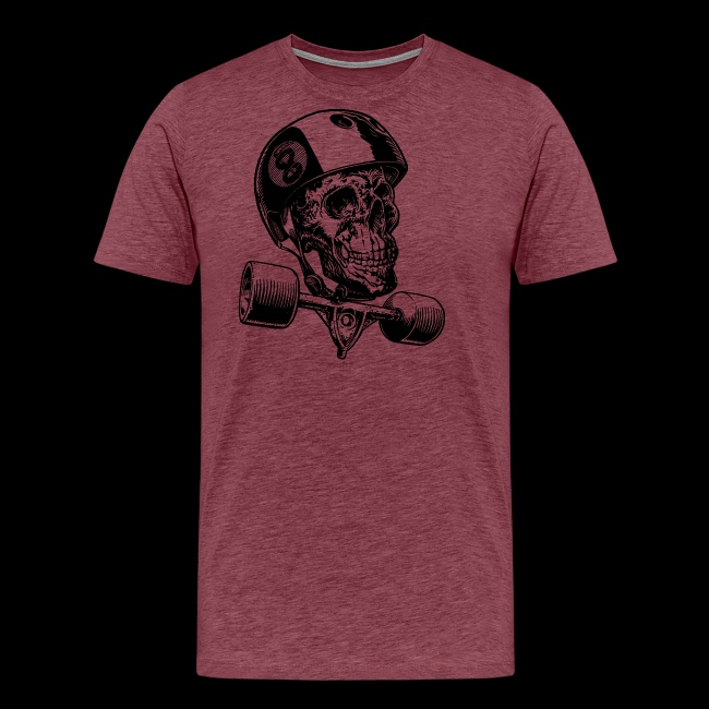 Skull Longboard Rider - positive print