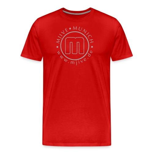MJive logo with web address, gray - Männer Premium T-Shirt