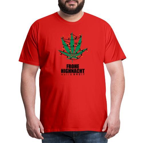 Frohe Highnacht Weihnachten Xmas Fun Hanf Cannabis - Männer Premium T-Shirt