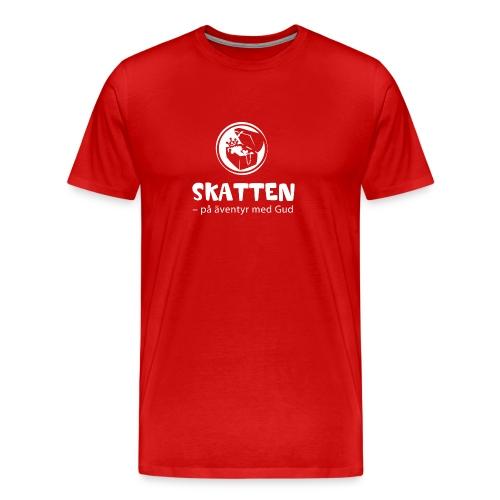 SKATTEN logotyp vit stor png - Premium-T-shirt herr
