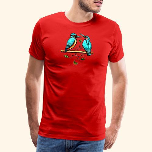 Eisvogel Paar farbe - Männer Premium T-Shirt