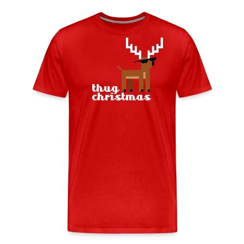 Christmas Xmas Deer Pixel Funny - Men's Premium T-Shirt