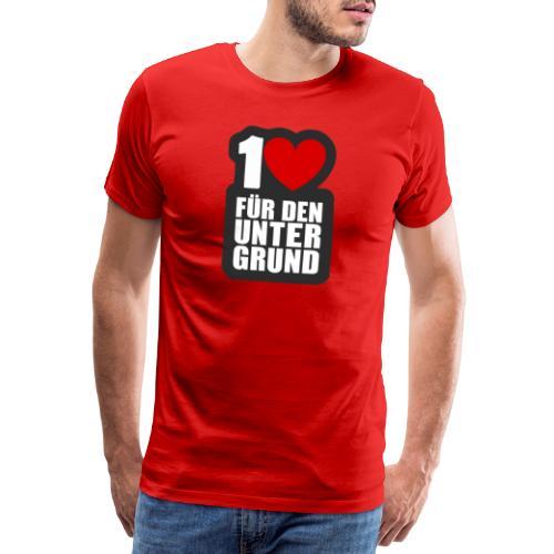 1 Herz für den Untergrund - Logo grau - Männer Premium T-Shirt