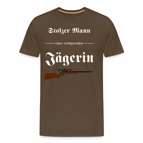 Stolzer Mann einer erfolgreichen Jaegerin - Männer Premium T-Shirt