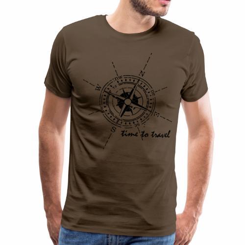 Kompass time to travel schwarz - Männer Premium T-Shirt