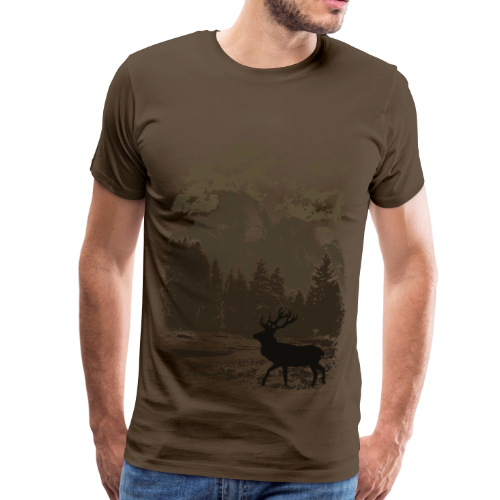 Bergwald und Rothirsch (Braun) - Männer Premium T-Shirt