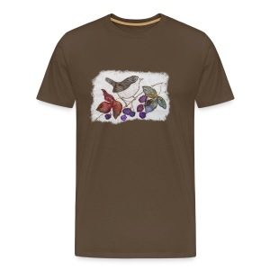 Wren and Blackberries Design - Men's Premium T-Shirt