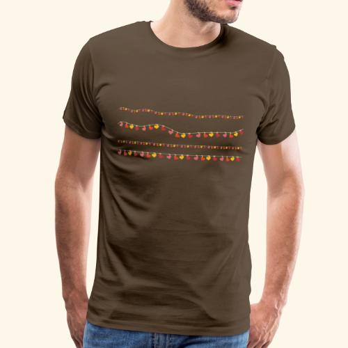 Herzchen-Lichterkette - Männer Premium T-Shirt