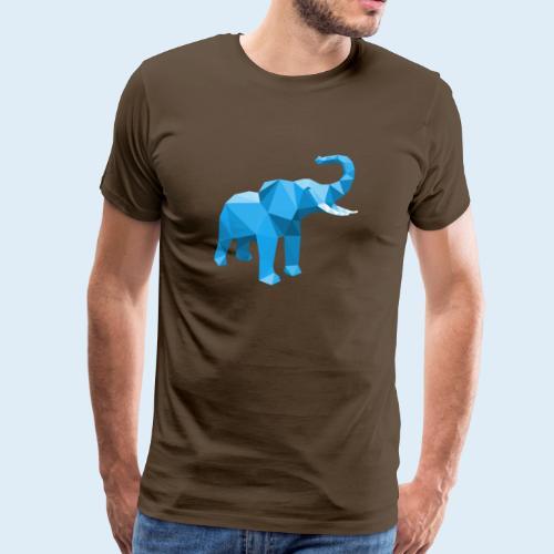 Elefant blau mit stylischem LowPoly Effekt - Männer Premium T-Shirt