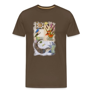 Otter and King Fisher in Grey Design - Men's Premium T-Shirt