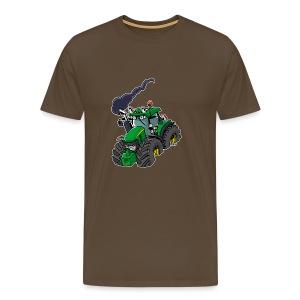GREEN TRACTOR white border - Mannen Premium T-shirt