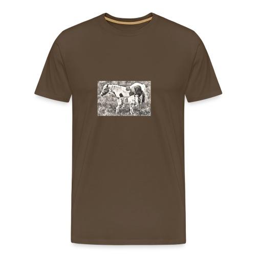 Pinto mit Fohlen - Männer Premium T-Shirt