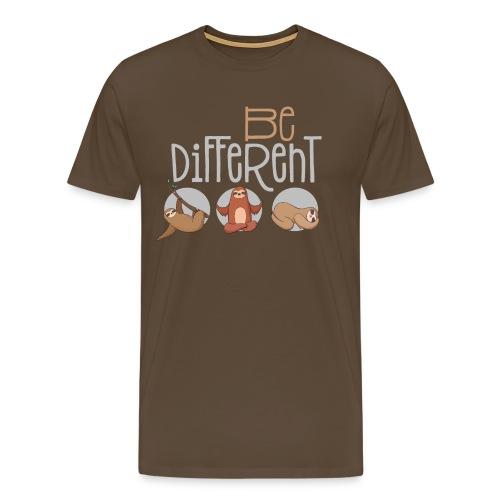 Sei anders und Besonders - be different Faultier - Männer Premium T-Shirt