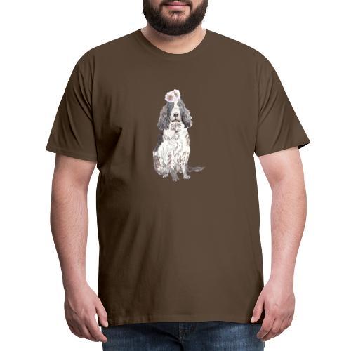 English cocker spaniel with flower - Herre premium T-shirt