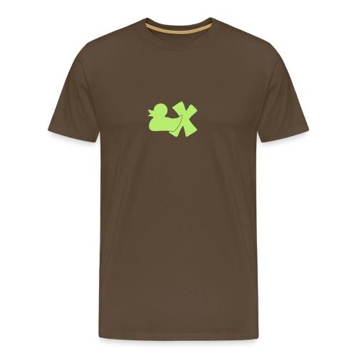 Mütze mit Ente mit X, orange samtig! - Männer Premium T-Shirt