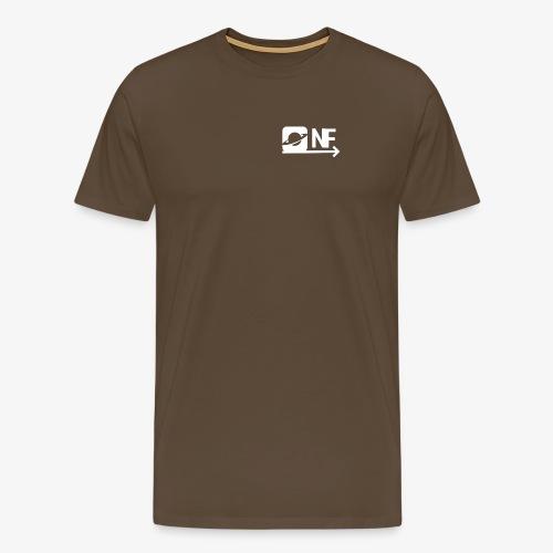 NearFuture Logo mit Pfeil in Weiß - Männer Premium T-Shirt