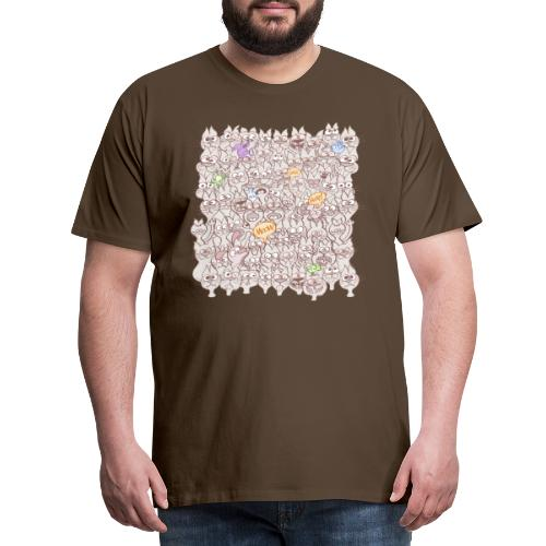 Funny cats posing in a meowing pattern - Men's Premium T-Shirt