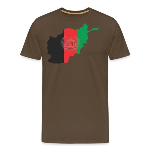 Afghanistan Flag in its Map Shape - Men's Premium T-Shirt