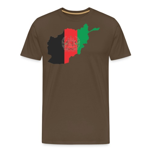 Afghanistan Flag in its Map Shape - Men's Premium T-Shirt