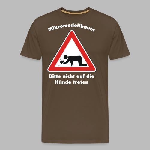 Mikromodell Warnschild Hände - weisse Schrift - Männer Premium T-Shirt