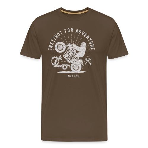 Two Wheeled Ape Wheelie Biker T shirt White - Men's Premium T-Shirt