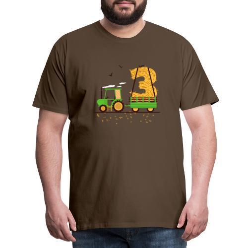 Traktor mit Anhänger 3. Geburtstag Geschenk Drei - Männer Premium T-Shirt