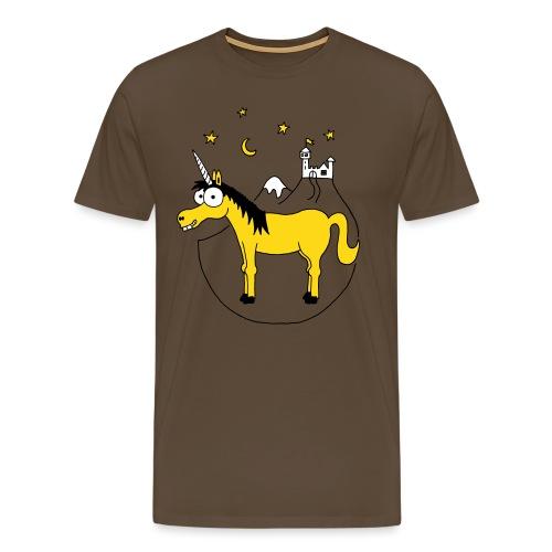 Einhorn mit Burg, Unicorn, Märchen, Pferd, Sterne - Männer Premium T-Shirt