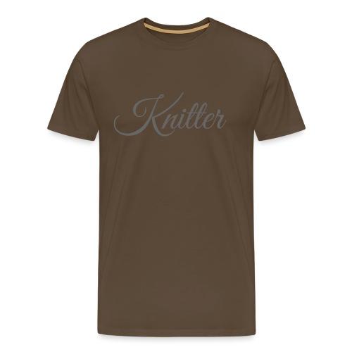Knitter, dark gray - Men's Premium T-Shirt