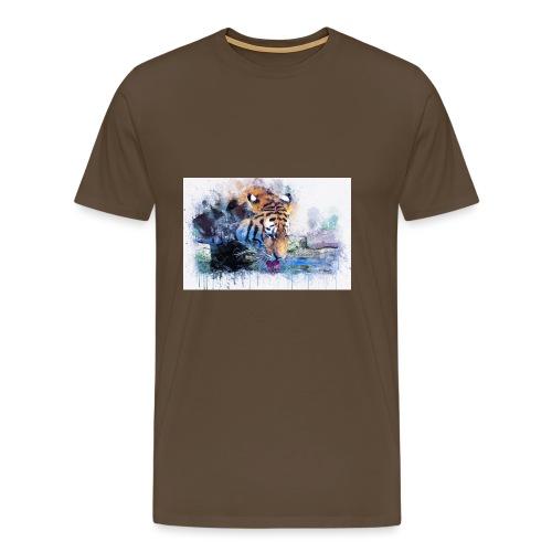 tiger drinking water - Men's Premium T-Shirt