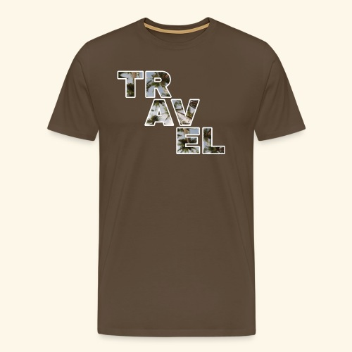 Travel travel with palm filling and blue sky - Men's Premium T-Shirt