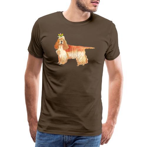 American cocker spaniel with flower - Herre premium T-shirt