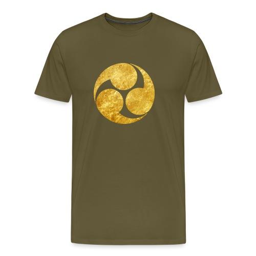 Kobayakawa Mon Japanese clan gold on black - Men's Premium T-Shirt