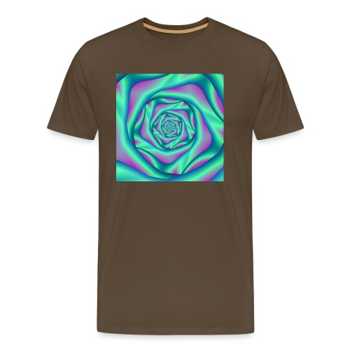 Silk Spiral Rose in Blue and Pink - Men's Premium T-Shirt