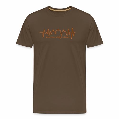 Mein Herz schlägt schwarz orange - Männer Premium T-Shirt