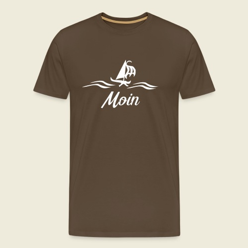 Moin mit Schiff in weiß - Männer Premium T-Shirt