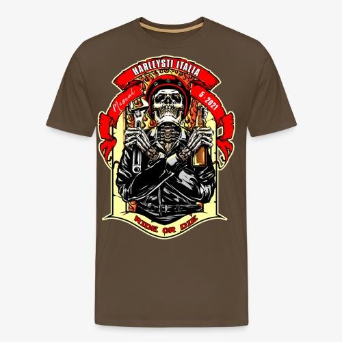 Teschio con casco, birra e chiave inglese - Maglietta Premium da uomo