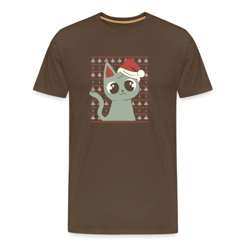 Gato Navideño - Camiseta premium hombre