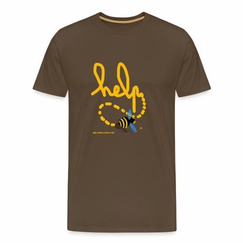Help abeille texte jaune - T-shirt Premium Homme