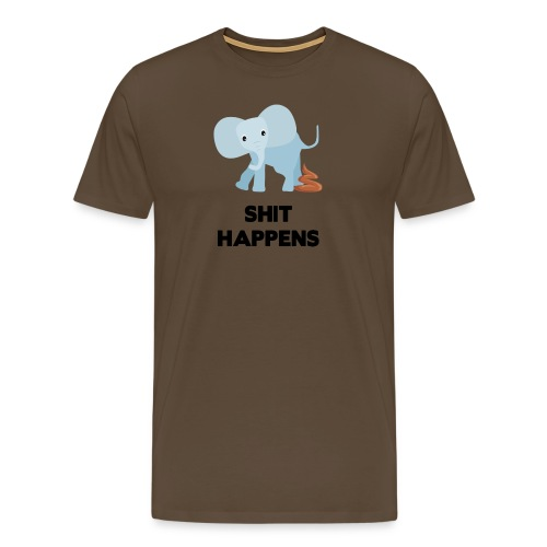 olifant met drol shit happens poep schaamte - Mannen Premium T-shirt